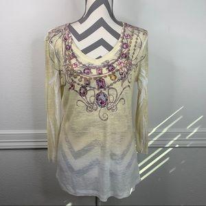 Reba Jewelry Neckline Print Long Sleeve Tee Size M